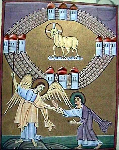 Icon of John receiving the scroll of his visions from the Angel who visits him and the Lamb as the Blessed One at the heart of the City of God.