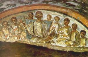 image of Jesus and disciples from catacomb in Rome