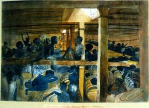 Prayers on deck, slaves under the deck-John Newton's Christian slave ship