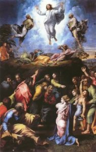 the light of Jesus' transfiguation spills on to the face of the possessed boy (Raphael)