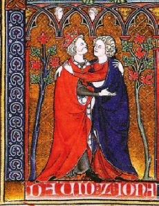 Medieval image of David and Jonathan