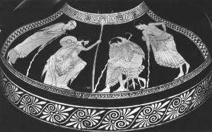 Achiiles (centre right) argues with Odysseus. Patroclus is far right.