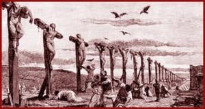 Roman crosses along the Via Appia after the slave revolt