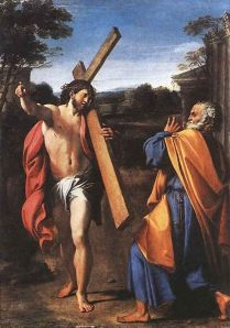 The Quo Vadis legend. Peter fleeing persecution, meets Jesus going to Rome to be crucified again