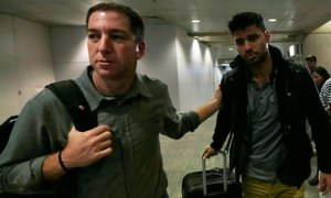 Journalist Glenn Greenwald and Partner at Airport