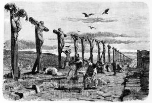 defeated slave rebels crucified in the Via Appia