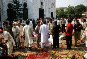 blood in the church courtyard after the bombing