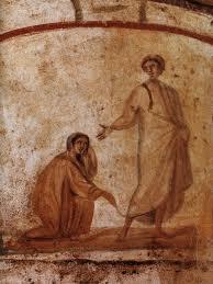4th century image of woman touching Jesus' cloak