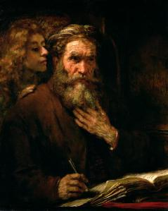 St. Matthew and the angel who inspires his words
