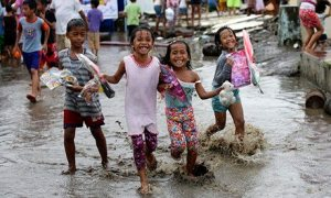After the typhoon-children with Christmas presents in the Philippines