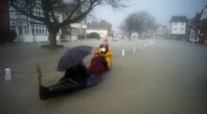 gondola in UK flood