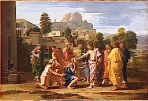 Jesus heals Bartimeus by Nicolas Poussin
