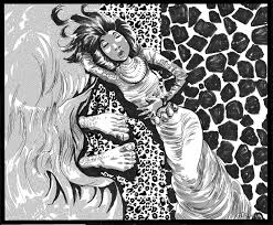manga image of Ruth at Boaz' feet
