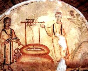 Early Chhristian image of Jesus and woman at the well