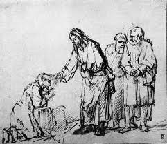 Jesus touches a leper Rembrandt