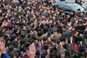 Kim Jong -un greeted by crowd