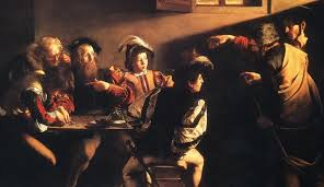The Calling of Matthew by Caravaggio. Note the harshness of Jesus' face.