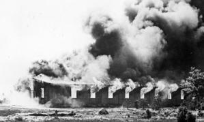 Belsen burning after liberation
