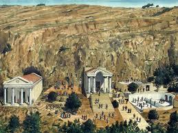 Reconstruction of Caesarea Philippi against its actual location