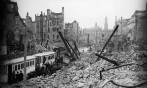 After allied bombing and 25,000 deaths.