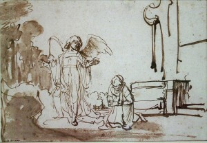 Hagar at the well: Rembrandt