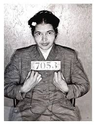 Rosa Parks, arrested for opposing prejudice in Montgomery Alabama