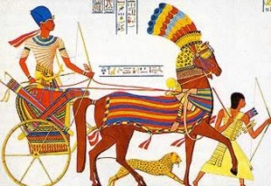 Pharaoh in chariot with pet lion
