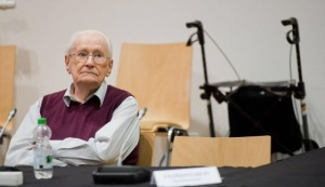 Oskar Groning in court, accused of being part of the Auschwitz regime