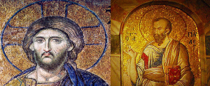 mosaics of Jesus and Paul